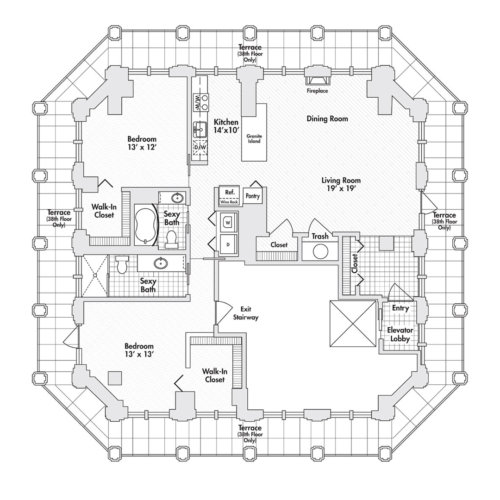 Penthouse – Two Bedroom, Two Bath (C7)