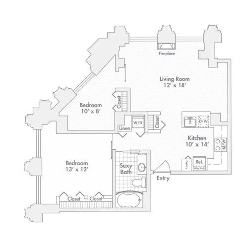 Penthouse – Two Bedroom, One Bath (B)
