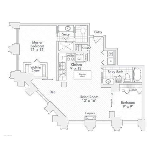 Penthouse – Two Bedroom, Two Bath (C1)