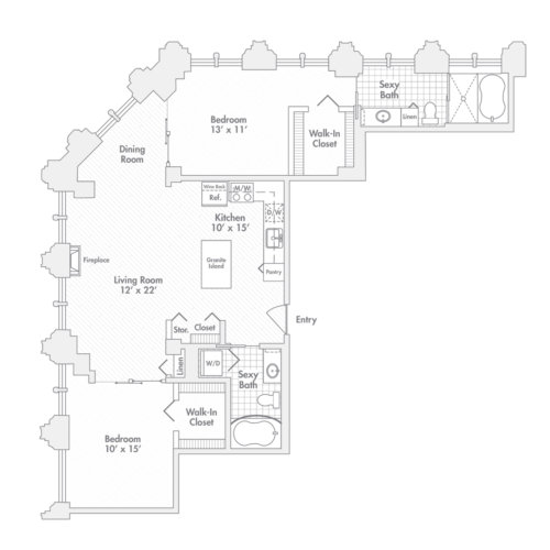 Penthouse – Two Bedroom, Two Bath (C6)