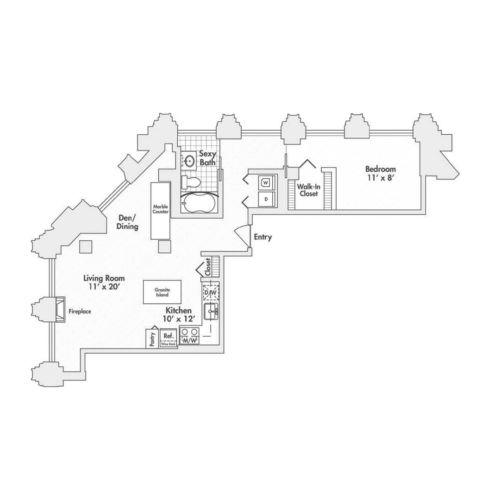 Penthouse – One Bedroom, One Bath (A9, A10)
